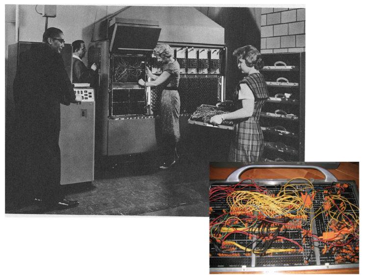 1949年のレミントン・ランド社 UNIVAC120(左)IBM 402のプラグボード(右下)