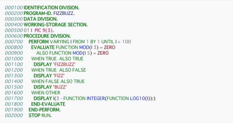 COBOL記述の一例